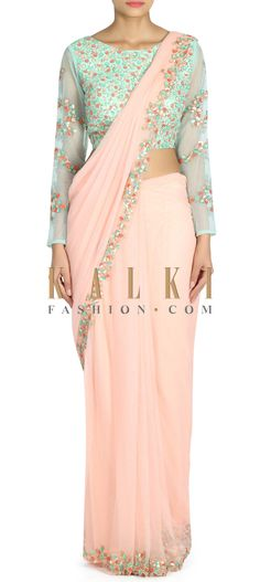Buy this Baby pink saree gown in pre stitched pallav only on Kalki