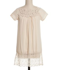 Look at this Coveted Clothing Ivory Crocheted Pinwheel Shift Dress on #zulily today!