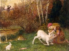 """Arthur Hughes """"The White Hind"""" (c.1870) inspired by Keats' Endymion"""