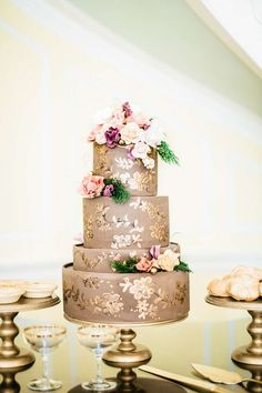 chocolate gold wedding cake, handpainted wedding cake, charleston wedding cake