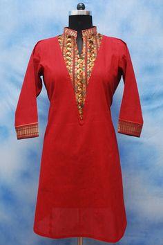 Handloom Mehroom Formal Kurti, 100% cotton, V- yoke with embroidery, Golden border on sleeves and neckline.