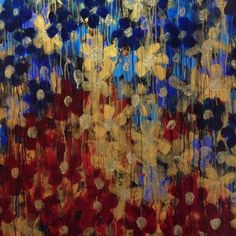 """Theresa- Beautiful, Art Nouveau, Flower, Large, Painting, Decorative, Pattern, Tapestry, Gold, Blue, Red, Romantic, Floral, Art, 36"""" x 36"""""""