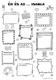 Játékos tanulás és kreativitás: Én és az ... iskola Bullet Journal Decoration, Bullet Journal Banner, Bullet Journal Art, Bullet Journal Inspiration, Planner Doodles, Punch Needle Patterns, Teaching Tips, School Projects, Special Education