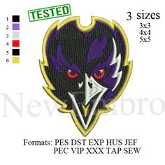 Baltimore Ravens logo2 embroidery design embroidery pattern 3 sizes by NewEmbro, $2.99 USD