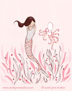 Mermaid and Octopus art print by Sarah Jane Studios, cute wall art for the bathroom.