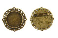 4x Bronze Round Cameo Base Setting Pin Brooch Base Cabochons Flat back Findings…