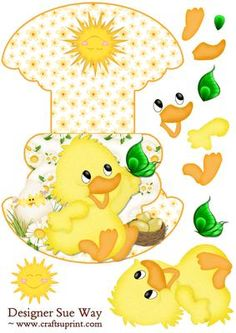 Easter Chick Wobble or Rocker Card on Craftsuprint designed by Sue Way - A cute smiling chick catching a butterfly. A fun card that will make anyone smile this Easter. Includes a few decoupage pieces to layer up.  - Now available for download!