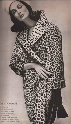 Photo by Richard Avedon, 1957, Carmen Dell'Orefice, Furs Editorial, 'The Leopard Cocoon'.