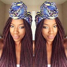 30 Gorgeous Bandana Hairstyles for Cool Girls! Bandana may not seem like it, but it's a versatile accessory t Box Braids Hairstyles For Black Women, Side Braid Hairstyles, Bandana Hairstyles, Braids For Black Women, Braids For Black Hair, Girl Hairstyles, Black Hairstyles, Gorgeous Hairstyles, Colored Box Braids