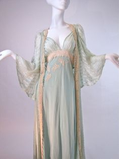 I love this! - Vintage 1930′s Bridal Trousseau Silk Peignoir Set, Nightgown and Robe Channeling the Greek goddess Athena…