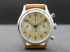 1950s oversized Eterna Valjoux 22 chronograph - 38mm - Serviced Vintage Watches, Watches For Men, 1950s, Two By Two, Things To Come, Pure Products, Patek Philippe, High Level, Men Watches