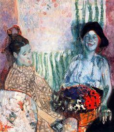 'Loveday and Ann: Two Women with a Basket of Flowers', Frances Hodgkins, 1915 Gwen John, Tate St Ives, Tate Britain, Flower Basket, Female Art, Art Images, Flower Art, Oil On Canvas, Modern Art