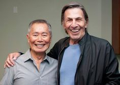 """Recognize these two actors? Spock"""" Nimoy and George """"Ensign Sulu"""" Takei from the original Star Trek! Star Trek Series, Star Trek Original Series, Star Trek Enterprise, Star Wars, Star Trek Tos, Stargate, Star Trek Crew, Paddy Kelly, Star Trek Images"""