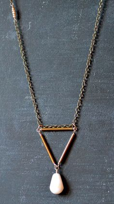 Brass Triangle Necklace with Pink Opal