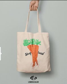 Eco friendly tote bag with orange carrot print on it. Cotton Tote Bags, Reusable Tote Bags, Eco Friendly, My Etsy Shop, Orange, Trending Outfits, Unique Jewelry, Handmade Gifts, Carrot