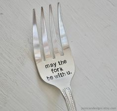 May The Fork Be With You - Large Hand Stamped Grilling/Serving Fork For Star Wars Lovers (TM) -Humorous Geek Gift. $20.00, via Etsy.