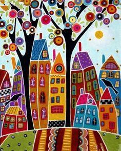 Bird Houses and a Swirl Tree painting by Karla Gerard Karla Gerard, Art Fantaisiste, Inspiration Art, Arte Popular, Cross Paintings, Naive Art, Silk Painting, Painting Abstract, Abstract City