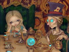 Alice and the Mad Hatter by ~jasminetoad