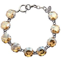 "Catherine Popesco Rounded Square Tennis Bracelet, La Vie Parisienne Silver Plated with Light Fawn Swarovski Crystal, 8"" 1696 PAC"