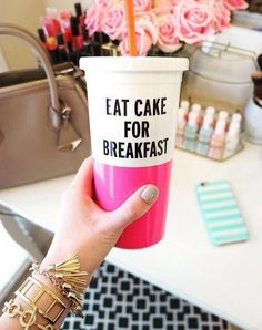 Kate Spade Eat Cake for Breakfast Tumbler Real Style, My Style, It Works Products, Closet Accessories, Southern Girls, Pretty Images, Take My Money, Breakfast Cake, I Love Coffee