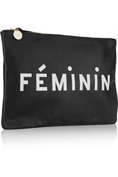 Clare V | Printed leather clutch | NET-A-PORTER.COM $215.00 Clare V's slim clutch references the French Nouvelle Vague - a New Wave film movement of the 1950s. Crafted from supple black leather, this easy-to-carry style is detailed with cream-colored 'Masculin/ Féminin' lettering and opens to a canvas-lined interior. Fill yours with just the essentials for day or night.