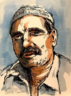 Syrian man, watercolour and ink portrait by Giulia Gatti Watercolor And Ink, Watercolor Paintings, Damask Rose, Gray Eyes, Red Earrings, Watercolors, Portrait, Gallery, Drawings