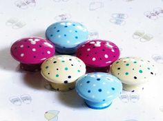Polka Dots Galore Knob Set for Kids Bedroom in Ivory Blue