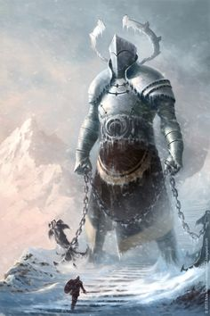 A lone warrior confronts an armoured giant guarding wintry stairway in the snow