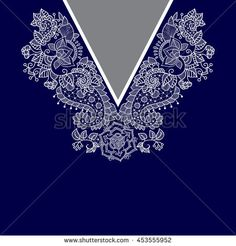 Vector design for collar shirts, shirts, blouses, T-shirt. Two colors ethnic flowers neck. Paisley decorative border