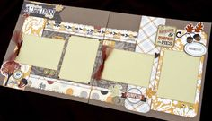 12x12 Scrapbook Page Perfect Autumn Day Themed Kit . DIY Kit or Pre-Made Double Page Layout. Fall Scrapbook – Thanksgiving Scrapbook