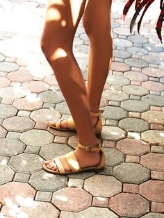 distressed strappy leather sandals