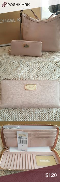 Michael Kors Jets Set Wallet NWT. Authentic MK wallet / wristlet.  The same soft leather as the MK purse I have listed. There are 16 credit card slots and 1 clear slot for your driver's license.   Also has a center zipper pocket,  and 5 large pockets for all your other needs. Ballet pink with gold hardware. I have the purse in a separate listing,  if you are interested in both,  we can work out a good deal. Michael Kors Bags Wallets