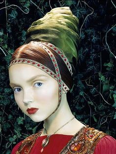 Lily Cole photographed by Miles Aldridge for Italian Vogue ('Like a Painting'), 2005.