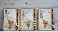 ATC cards by DT member Wybrich with Creatables Ice Cream (LR0365) by Marianne Design
