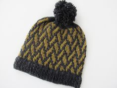 Quadrangle is a worsted weight hat knit in the round. The hat starts with a rib and then continues with a mosiac colorwork pattern. Brooklyn Tweed, Pom Pom Maker, Knit In The Round, Pattern Library, Mosaic Patterns, Yarn Colors, Slip Stitch, One Color, Ravelry