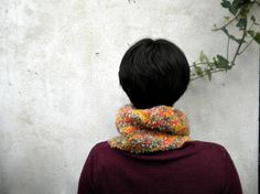 orange neck wormer knitted infinity scarf or cowl for by vumap, €28.00