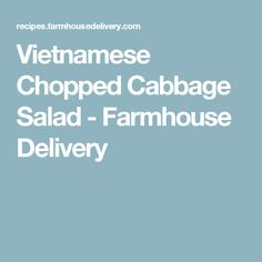 Vietnamese Chopped Cabbage Salad - Farmhouse Delivery