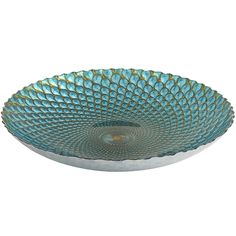 Lustrous aquamarine, olive and bright cerulean form the hypnotic peacock pattern in this serving bowl, demonstrating the mastery of Turkish artisans of this form in any medium. A glass bowl with a reflective coating and glazes on the underside, this is the serving piece to inspire your finest offerings.