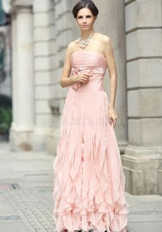 Chiffon Strapless A line Natural Waist Evening Dresses - Voguequeen.com