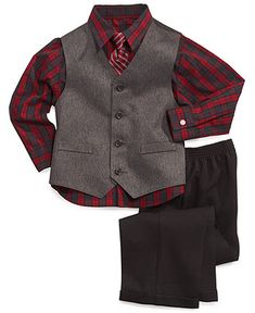 nautica little boys 3 piece herringbone vest shirt and pants set kids