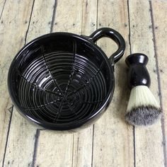 Wet Shaving Mug Black Ceramic Shave Cup by blueroompottery on Etsy