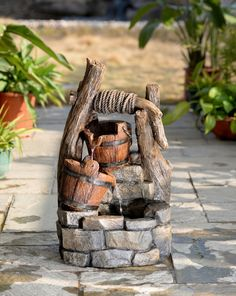 Features:  -Electric power.  -Output: 110V.  Material: -Fiberglass/Resin.  Style: -Traditional.  Fountain Design: -Waterfall/Cascade.  Fountain Function: -Floor.  Fountain Location: -Outdoor/Garden.