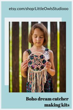 Make your own dream catcher - great arts and crafts kit for children! Enjoy crafting a boho wall hanging with your little one!