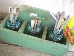 Vintage Wooden Farmhouse Tool Caddy in Shabby Green. $35.00, via Etsy.