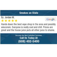 Hands down the best vape shop in the area and possibly wisconsin. Everyone is really cool...