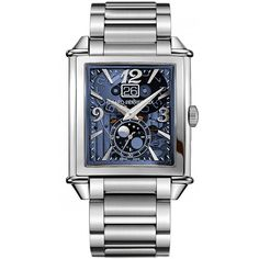 Girard Perregaux Vintage 1945 XXL Large Date Moonphases... (17,040 CAD) ❤ liked on Polyvore featuring men's fashion, men's jewelry, men's watches, stainless steel, vintage mens watches, mens blue dial watches, stainless steel mens watches and mens diamond bezel watches
