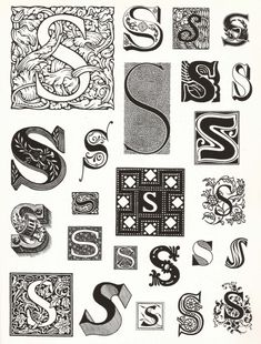 The letter S -- one of my initials, but I love fonts and calligraphy and writing. Letter S Calligraphy, Calligraphy Drawing, Tattoo Lettering Fonts, Graffiti Lettering, Monogram Letters, Letters And Numbers, Letra Drop Cap, Vintage Typography, Japanese Typography