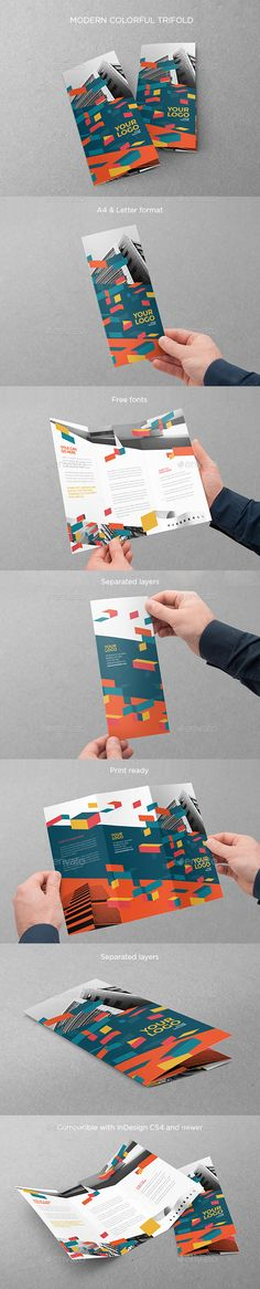 Modern Colorful Trifold Brochure Template InDesign INDD #design Download: http://graphicriver.net/item/modern-colorful-trifold/14276081?ref=ksioks
