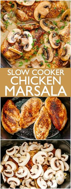 Slow Cooker Chicken Marsala - Creamy, delicious, mushroom studded Chicken Marsala prepared in the slow cooker! This surprisingly easy recipe results in a restaurant quality dish made right in your own kitchen. Recipes for 1 Slow Cooker Chicken Marsala Top Crockpot Recipes, Crockpot Dishes, Tasty Slow Cooker Recipes, Healthy Recipes, Slow Cooker Meals Healthy, Healthy Crockpot Chicken Recipes, Slow Cooker Creamy Chicken, Slow Cooker Chicken Thighs, Beef Recipes