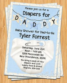 Diapers for Daddy Baby Shower Invitation by eventfulcards on Etsy